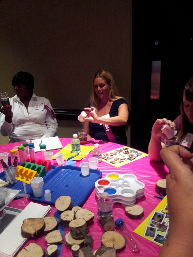 Attendees working on some Science Lab Activities